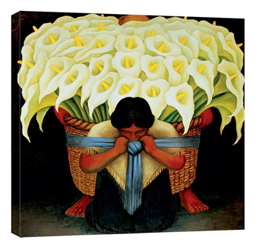 - Calla Lily Vendor El Vendedor de Alcatraces by Diego Rivera Stretched Canvas Art Print - 28x28in