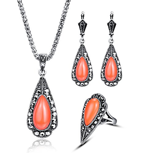 The Color Coral (Vintage Tiny Water Drop Multi Colors Coral Jewelry Sets, 3pcs Triangle Resin Pendant Necklace Earring Ring for Girls - Orange+Ring#7)