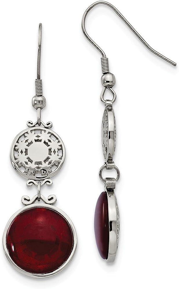 Stainless Steel Red Glass Polished Shepherd Hook Earrings Length Width