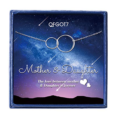 OFGOT7 Mother Daughter Necklace - Sterling Silver Interlocking Infinity Two Double Circles Pendants, Mothers Day Birthday Gift for Mom Jewelry, Gift Ideas for Women Necklaces,Mother Daughter Gifts