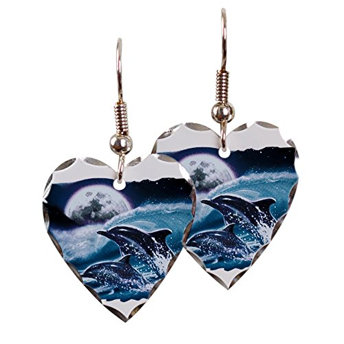 - Earring Heart Charm Moon Dolphins Ocean Life
