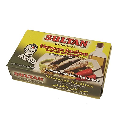 Sultan Moroccan Sardine in oil with chili peppers 4.37 oz (Pack of 3) (Sultan Sardines)