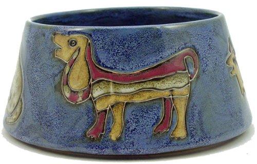 Mara Ceramic Stoneware 64 Oz. Dogs Blue X- Large Dog Bowl For Sale