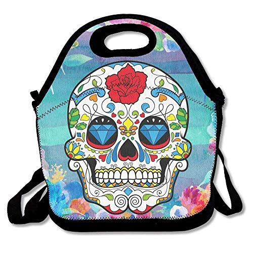 Red Colorful Sugar Skull Rose Eyes Skull Head Halloween Day of Dead Lunch Bags Insulated Travel Picnic Lunchbox Tote Handbag with Shoulder Strap for Women Teens Girls Kids Adults