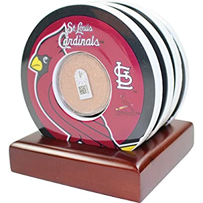 St. Louis Cardinals Coasters with Authenticated Game Used Dirt Set Of 4