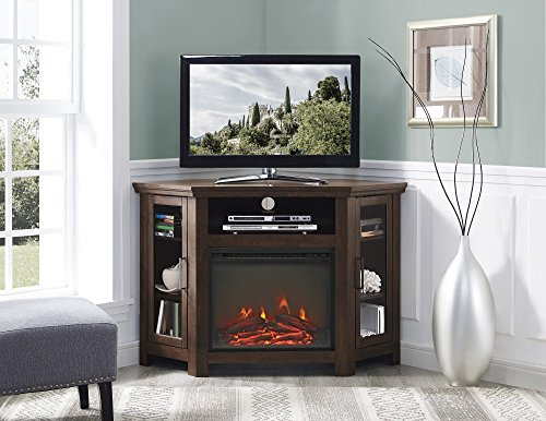 New 48 Inch Wide Corner Fireplace Television Stand in Traditional Brown Finish by Home Accent Furnishings
