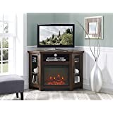 New 48 Inch Wide Corner Fireplace Television Stand in Traditional Brown Finish