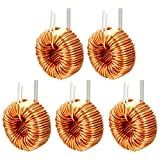 uxcell 5Pcs Horizontal Toroid Magnetic Inductor Monolayer Wire Wind Wound 50uH 20A Inductance Coil