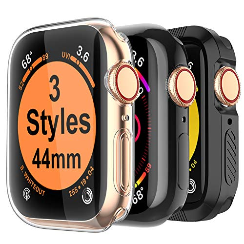 MARGE PLUS for Apple Watch Screen Protector 44mm, 3 Style Case for iWatch Series 4 44mm, Soft TPU All Around Cover, 1 Clear & 1 Black, 1 Shock-Proof Bumper Case - 3 Style Case