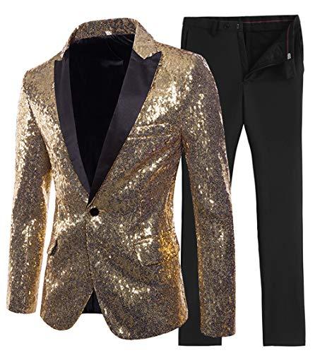 Mens Suit 2 Pieces Shiny Sequin Mens Suit Slim Fit One Button Peak Notch Lapel Tuxedo for Wedding Party (Blazer+Pants)(XS,Gold)