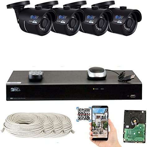 GW 8 Channel H.265 4K NVR 8-Megapixel Security Camera System, 4pcs 8MP PoE 3.6mm Wide Angle Waterproof Bullet 4K IP Cameras, 2TB Hard Drive