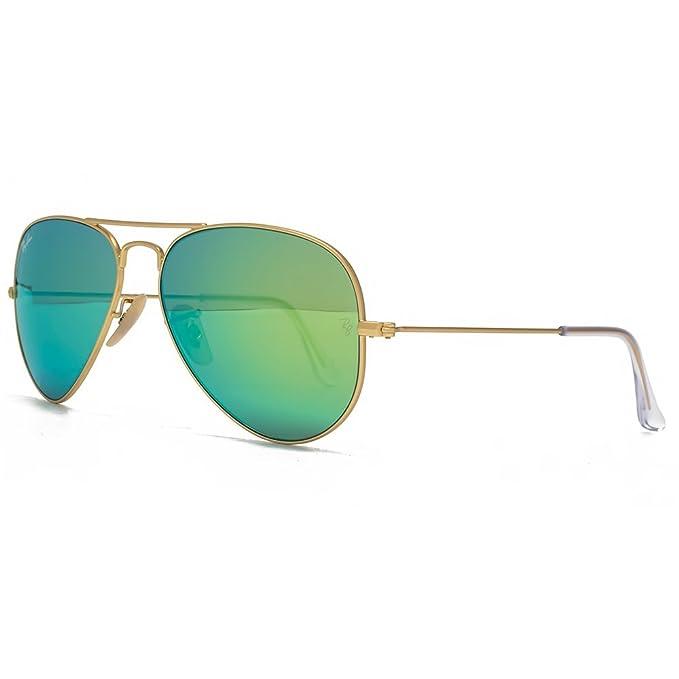 Ray-Ban Gafas de sol de aviador clásico espejo verde oro ...