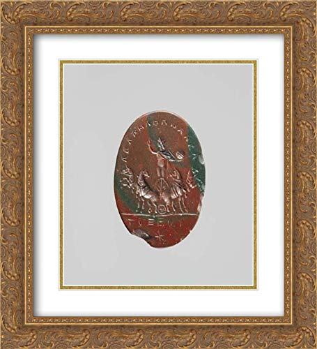 Roman Culture - 20x22 Gold Ornate Frame and Double Matted Museum Art Print - Jasper Intaglio: Sol in a Quadriga (Four-Horse Chariot)