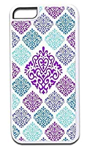 05-Large and Small Damasks-Pattern- Case for the APPLE IPHONE 5 ONLY!!! NOT COMPATIBLE WITH THE IPHONE 6 4.7!!!-Hard White Plastic Outer Case with Tough Black Rubber Lining