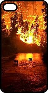 Deer Silhouette In Sunset Black Plastic Case for Apple iPhone 5c
