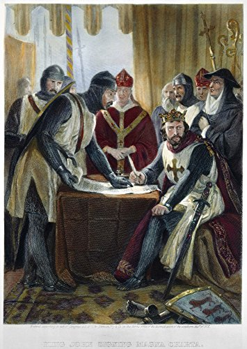 Signing Magna Carta 1215 Nsigning The Magna Carta In Runnymede June 15 1215 Steel Engraving American 1870 Poster Print by (18 x 24)