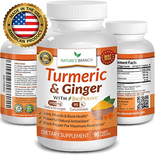 Extra Strength Turmeric Curcumin with Ginger & BioPerine  1950mg Joint Pain Relief Supplement for Inflammation with Black Pepper Powder - Premium Made in USA 100% Vegan Non GMO - 90 Capsules