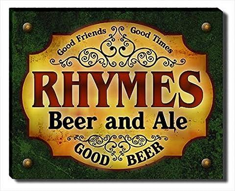 Rhymes Beer & Ale Stretched Canvas Print (Cvs Rhymes)