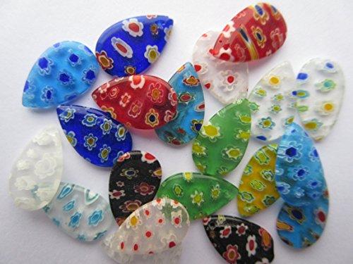 10 x MILLEFIORI LAMPWORK Glass Tear Drop 21mm Random Mixed Colours Charms Pendants - Drop Glass Millefiori Pendant