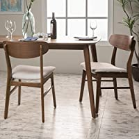 Augusta Light Beige Fabric/ Walnut Finish Dining Chair (Set of 2)