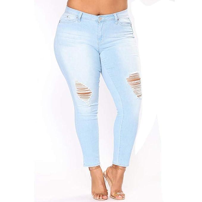 DAMENGXIANG La Moda De Las Mujeres Agujeros Pantalones ...