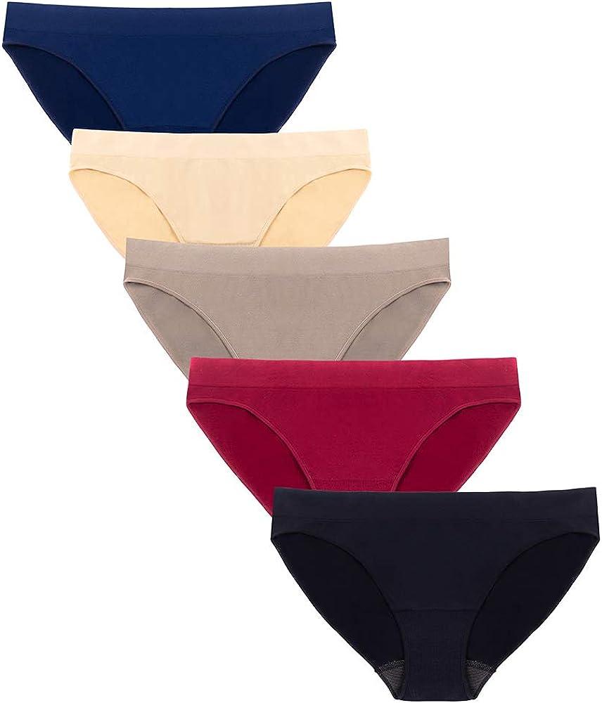 Pack of 5 DEEP TOUCH Womens Bikini Panties , M Hipster Underwear Women Black,Navy,Melange,London Blue,Burgandy Soft Stretch Cheekies Multi Colors Pack
