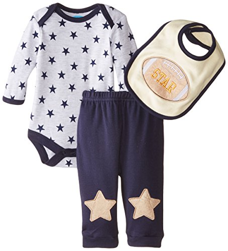 Bon Bebe Baby-Boys Newborn Football Star Bodysuit with Bib and Pant Set, Multi, 6-9 (Football Star Bib)