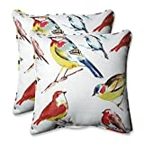 CC Outdoor Living Set of 2 Off White and Colorful Backyard Birds Throw Pillows 18.5''