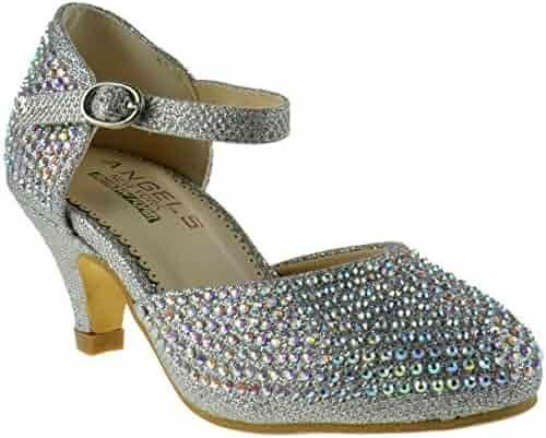 f787544af9a Angles NY 2434314 Little Girls Glitter Rhinestone Memory Foam Heel Platform  Dress Pumps