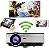 Home HD LED Wireless Projector 1280X800 Native Support 1080p 3500 Lumens LCD Android Wifi Movie Theater Projector HDMI USB VGA AV TV Audio Out for Apple iPhone Mac iPad Smartphone DVD Games Outside