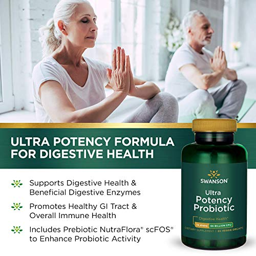 Swanson Ultra Potency Probiotic Digestive Health Immune System Support 66 Billion CFU Prebiotic NutraFlora scFOS 60 DRcaps Veggie Capsules (Caps) (2 Pack) by Swanson (Image #3)