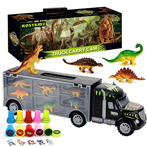 ROSYKIDZ Dinosaurs Transport Car with Dinosaur Toys, Carrier Truck Toy with 6 Dino and 10pcs Dinosaur Stamps, Tractor Trailer Toy Set for Kids Age 3 4 5 6 7 8 Years Old Boys Girls Gifts ()