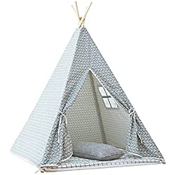 little dove Kid's Foldable Teepee Play Tent with Carry Case Grey Arrow no Mat