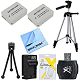 Essential NB-10L Pack Bundle for Canon Powershot G16, SX50, G1X, SX60 Cameras includes 2 NB-10L Batteries, Battery Charger, Hi Speed USB Card Reader, 57-Inch Tripod, Mini Tripod, LCD Screen Protector 3 Pack and Micro Fiber Cloth