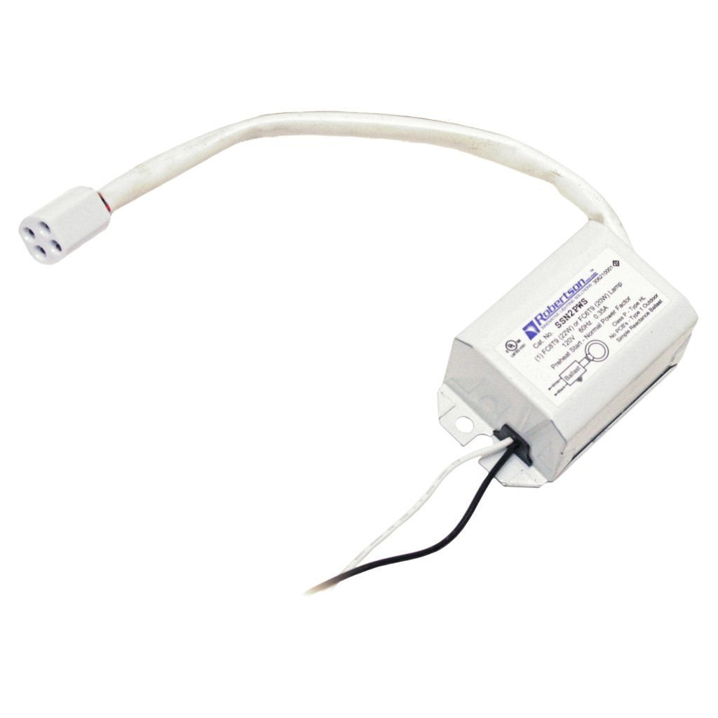 ROBERTSON 3P10041 Individual Fluorescent mBallast, 1 FC6T9 or FC8T9 Circline Lamp, Preheat Start, 120Vac, 60Hz, Normal Ballast Factor, NPF, Model SSN2PWS AM (Replaces Model SSN2PWS /A)