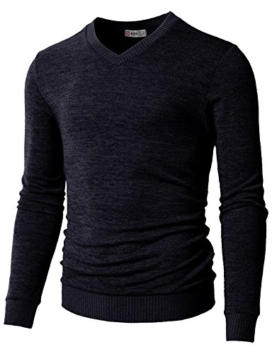 H2H Men's Heather Diamond-Texture Stitch V-Neck Vest Sweater Navy US XL/Asia 2XL ()