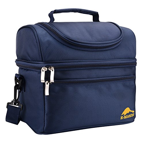 Lunch Box Insulated Lunch Bag Cooler Tote shoulder Strap with 2 Way Zip Closure Double Deck Large for Office School Picnic Blue