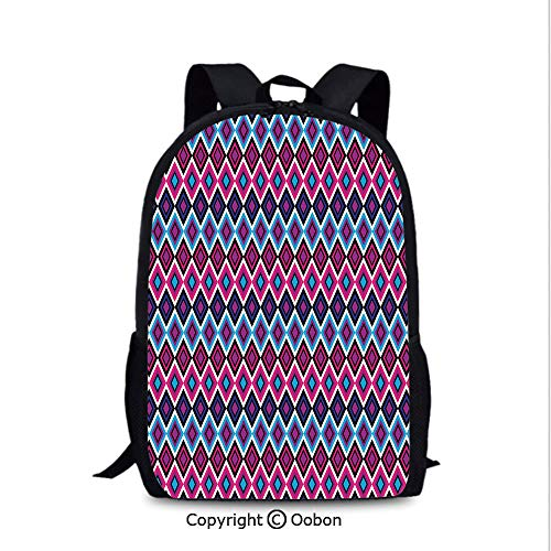 Backpack, Vintage Colorful Abstract Diamond Line Pattern Psychedelic Sixties Inspired, School Bag :Suitable for Men and Women, School, Travel, Daily use, etc.Blue Pink Black -