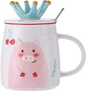 UPSTYLE 14oz Cute Pink Pig Ceramic Coffee Mug with Lid and Spoon Novelty Funny Cartoon Animal Tumbler the office Travel Cup To Go for Tea/Milk/Water Men and Wonmen (14oz/420ml Pink Pig)