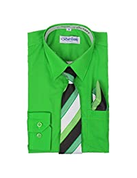 Berlioni Boys Kids One Pocket Long Sleeve Dress Shirts with Tie and Hanky