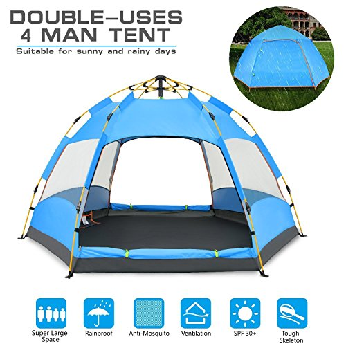 Cheap BATTOP 4 Person Tent [Double-Uses] Instant Pop Up Family Camping Tent – Double Layer – Waterproof – 4 Season Backpacking Tent (BLUE)