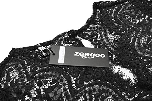 zeagoo womens v neck lace floral open back skater pleated