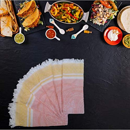 Servilletas Mexicanas, Mexican Style Napkins. with Cheerful Colors, Woven Napkins, 12 Pack- 80% Cotton & 20% Polyester (Light Orange) by Servilletas Mexicanas