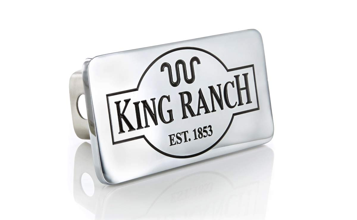 Ford King Ranch est. 1853 Chrome Plated Trailer Hitch Cover Plug (2 inch Post) Baronlfi