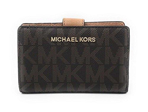 Michael Kors Jet Set Travel Bifold Zip Coin Wallet - Brown/Acorn (Michael Kors Jet Set Large Multifunction Phone Case)