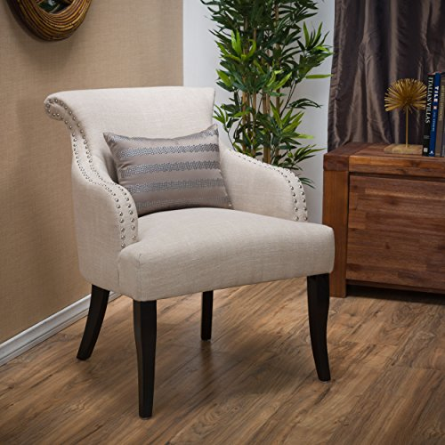 Baldwin | Fabric Arm Chair with Studded Accents | in Light Beige