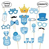 Jonami It's a Boy Baby Shower Photo Booth Props | Baby Boy Bottle Masks Photo Props / Photobooth Props for Newborn Boy. Ready to Use Blue Posing Props Supplies and Accessories for Party Decoration