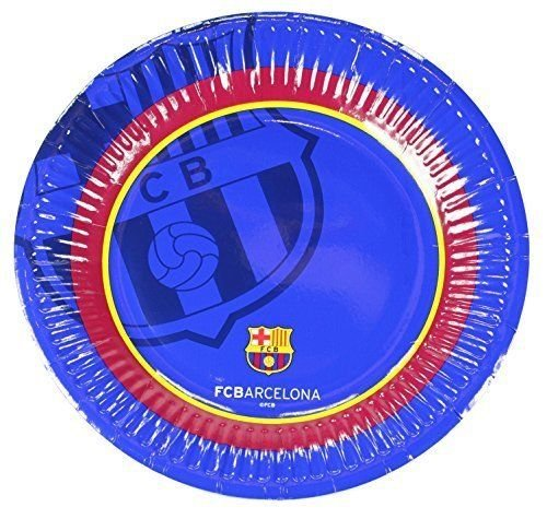 Official Barcelona Soccer Football Club FC Barcelona 10 Pack Paper Party Plates 20cm Glossy Finish - Barcelona Finish