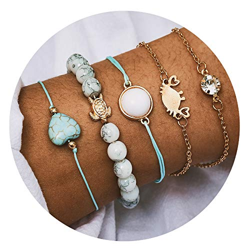 Turtle Bohemian Map Natural Stone Crab Beads Charm Bracelets Set for Women Fashion Shell Pineapple Tree Chain Link Bracelet Female Jewelry ()