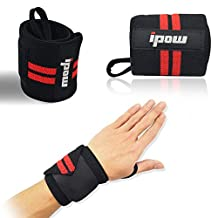 (1 pair) Ipow® Adjustable Weight Lifting Training Wrist Straps Support Braces Wraps Belt Protector for Weightlifting Crossfit Powerlifting Bodybuilding - For Women & Men by IPOW